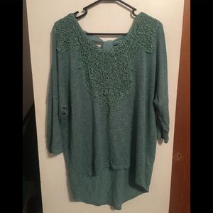Turquoise Green knit Blouse